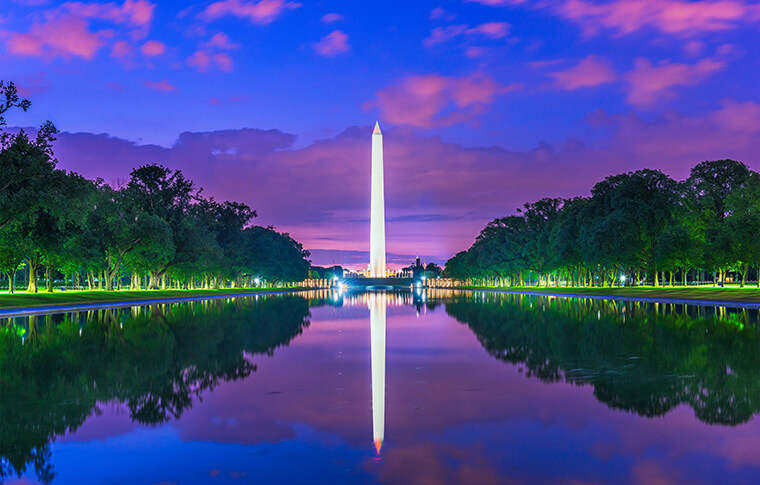 Dreamy view of reflecting pool between Lincoln and Washington Monuments.