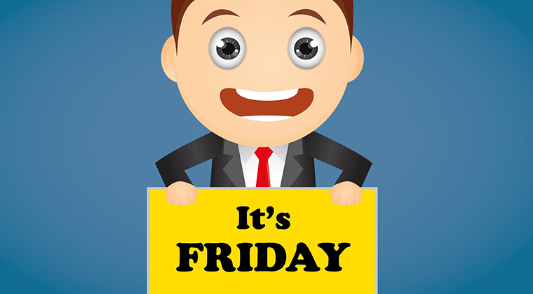 "Image depicting businessman holding ""It's Friday!"" sign"