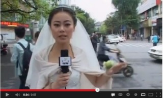 Reports Stops to Report on Earthquake After Wedding