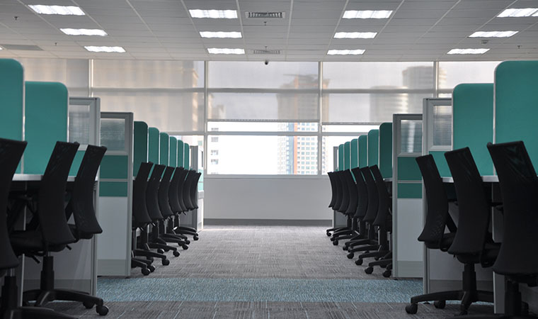 Office with empty cubicles.