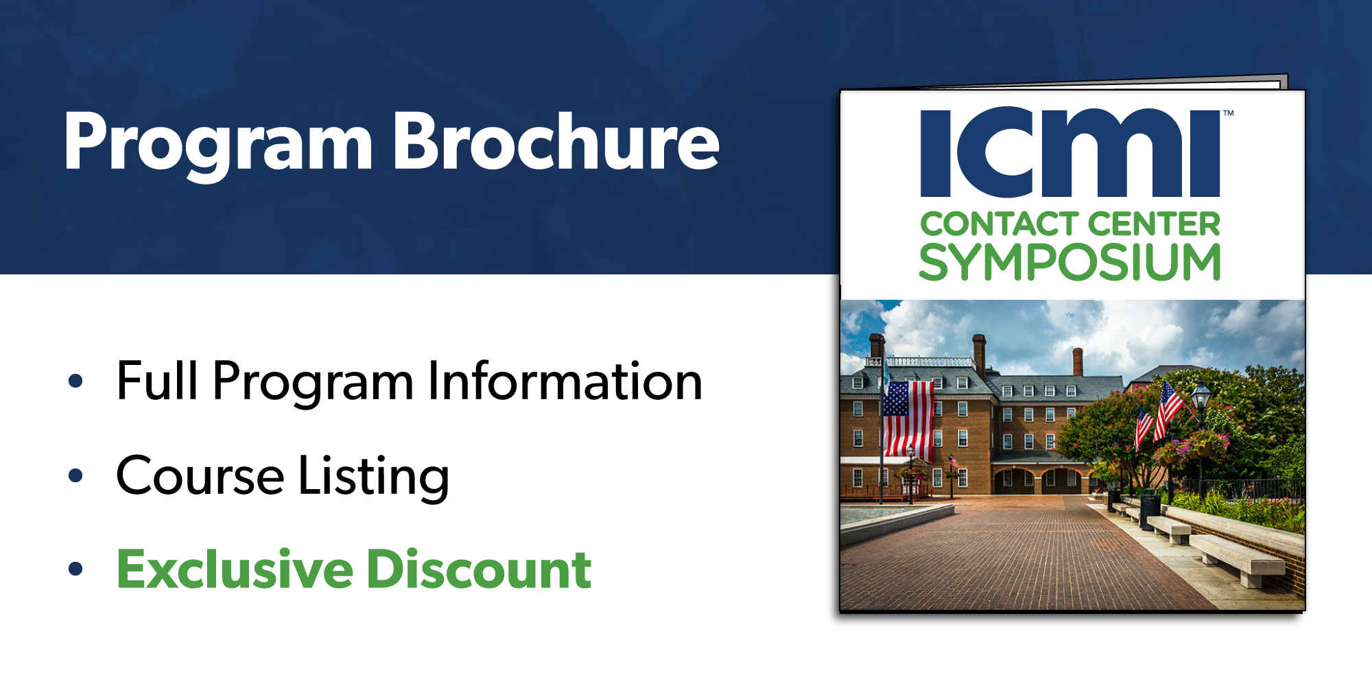 Download the ICMI Contact Center Training Symposium - Alexandria brochure