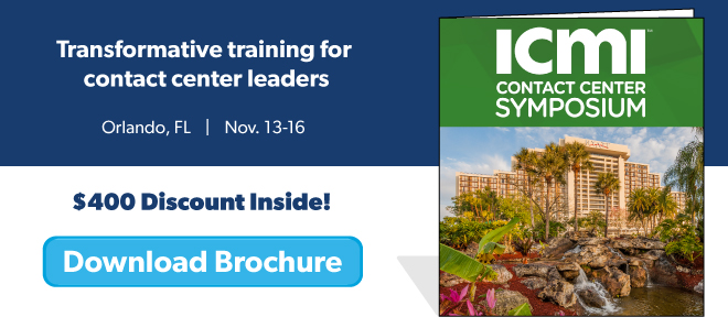 Download the ICMI Contact Center Symposium brochure for Orlando, FL